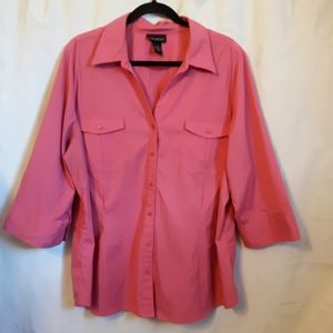 Lane Bryant Camp Shirt Pink 3/4 Sleeve stretchy
